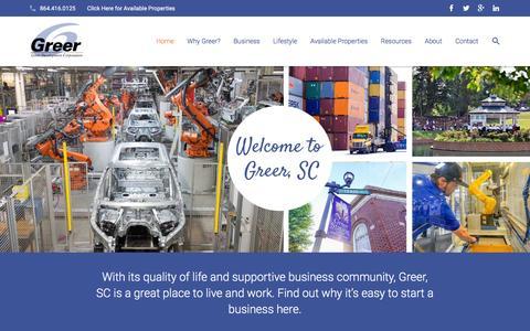 Screenshot of Home Page greerdevelopment.com - Greer Development Corporation   Start A Business Greer, SC - captured Feb. 2, 2016