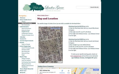 Screenshot of Maps & Directions Page google.com - Map and Location - Linden Grove Cemetery, Covington KY - captured June 8, 2016