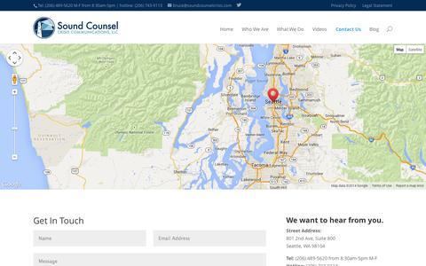 Screenshot of Contact Page soundcounselcrisis.com - Contact Us | Sound Counsel - captured Nov. 5, 2014