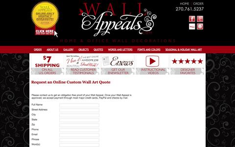 Screenshot of Contact Page wallappeals.com - Online order form for vinyl wall stickers that are removable wall art and temporary vinyl graphic tattoos from Wall Appeals is the newest trend in home and office decor! These removable vinyl wall art decals and stickers can be used on almost any smo - captured March 6, 2016