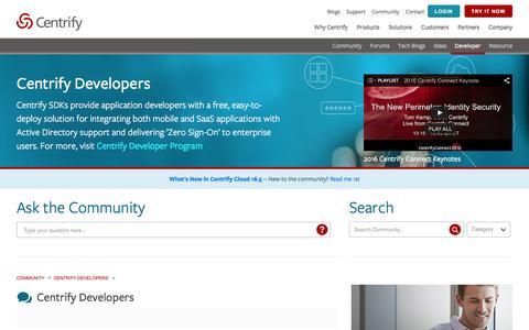 Screenshot of Developers Page centrify.com - Centrify Developers - Centrify Community - captured May 25, 2016