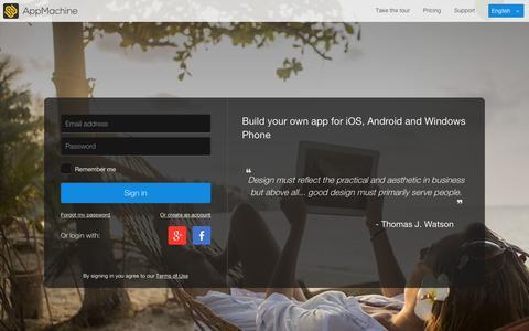 Screenshot of Login Page appmachine.com - AppMachine - captured Dec. 13, 2015