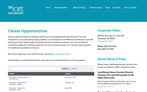 Career Opportunities   The Joint Chiropractic