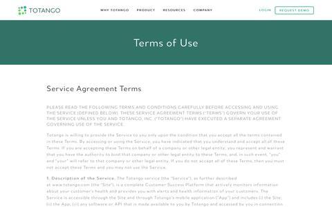 Screenshot of Terms Page totango.com - Terms of Use | Totango | Customer Success Software - captured Nov. 12, 2016