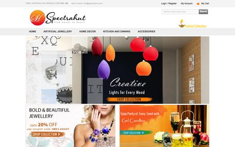 Screenshot of Home Page spectrahut.com - Indian handicrafts online traditional indian handicrafts online shopping for indian handicrafts - Shop for Indian Handicrafts products Online - captured Oct. 1, 2014