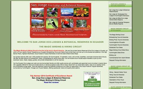 Screenshot of Home Page eco-lodgesanjorge.com - Ecuador Birding Tours ~ San Jorge Eco-lodge & Botanical Reserve - captured Oct. 6, 2014
