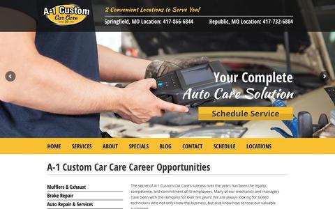 Screenshot of Jobs Page a-1customautorepair.com - A-1 Custom Car Care Career Opportunities - captured Sept. 29, 2017