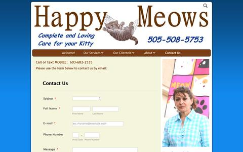 Screenshot of Contact Page happymeows.com - Contact Us – Happy Meows - captured May 11, 2017