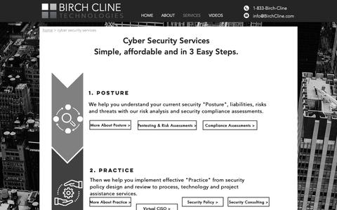 Screenshot of Services Page birchcline.com - Cyber Security Services and Consulting | Dallas, Texas | Birch Cline - captured Oct. 5, 2018