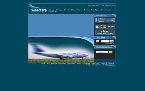 Screenshot of Home Page cal.co.il - CAL - Cargo Air lines - Air Cargo Service - captured July 15, 2014