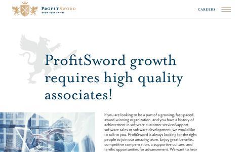 Screenshot of Jobs Page profitsword.com - Careers | ProfitSword Business Intelligence - captured Aug. 19, 2019