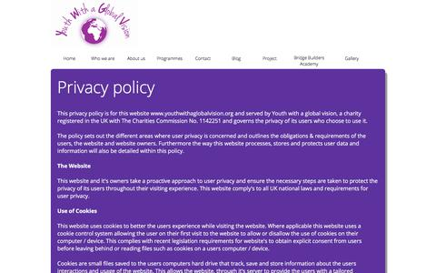 Screenshot of Privacy Page youthwithaglobalvision.org - Youth with a Global Vision - captured Sept. 20, 2018