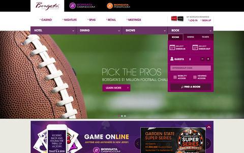 Screenshot of Home Page theborgata.com - Atlantic City Hotels & Casinos | Borgata Hotel Casino & Spa - captured Sept. 22, 2014