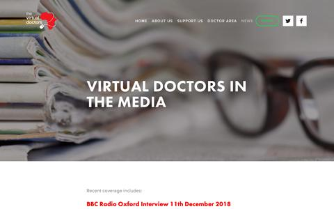 Screenshot of Press Page virtualdoctors.org - VDr in the media - captured Dec. 13, 2018