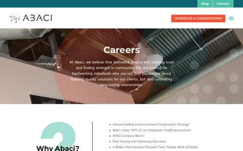 Screenshot of Jobs Page abaci-us.com - Careers - Abaci - Streamline Your Business on NetSuite - captured July 8, 2018