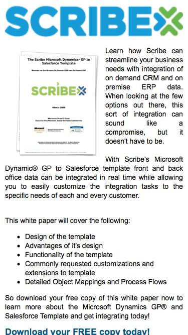 White Paper: The Scribe Microsoft Dynamics GP® to Salesforce Template | Scribe Software