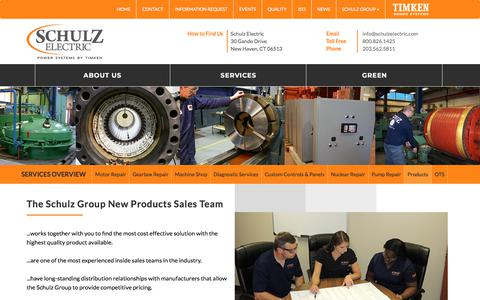 Screenshot of Products Page schulzelectric.com - New Product Sales Team at The Schulz Group - captured July 13, 2018