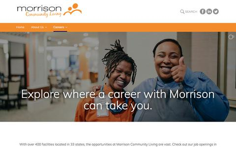 Screenshot of Jobs Page Locations Page enriching-careers.com - Locations – Morrison Community Living - captured Feb. 15, 2018