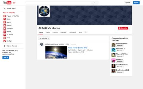 Screenshot of YouTube Page youtube.com - AirSatOne's channel  - YouTube - captured Oct. 23, 2014