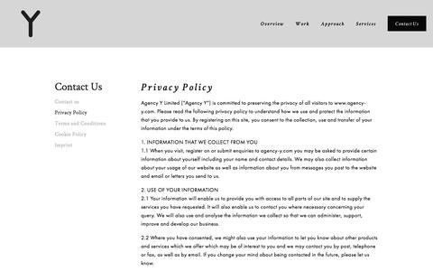 Screenshot of Privacy Page agency-y.com - Privacy Policy — Agency Y - captured July 25, 2016