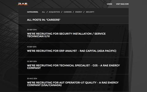 Screenshot of Jobs Page rae.com - RAE Blog | Careers - captured Oct. 6, 2014