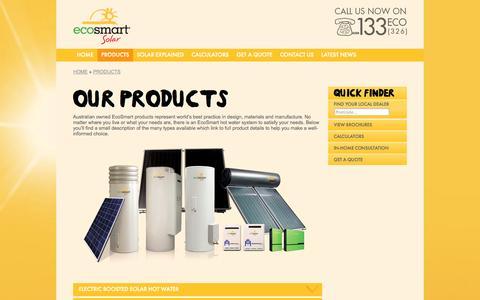 Screenshot of Products Page ecosmart.com.au - Solar Hot Water Heaters |  Solar Water Heater & Heating Products - EcoSmart Solar - EcoSmart Solar - captured Oct. 2, 2014