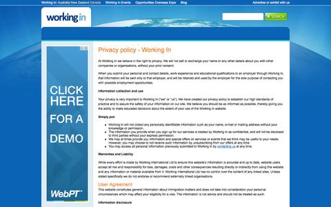 Screenshot of Privacy Page workingin.com - Privacy policy - Working In | Working In - captured Aug. 14, 2015