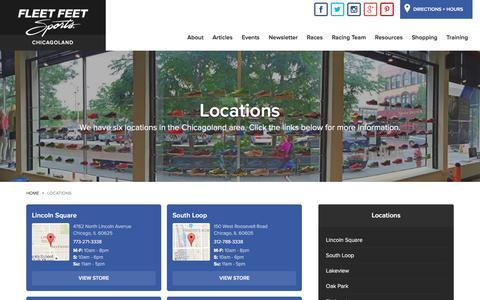 Screenshot of Locations Page fleetfeetchicago.com - Locations - captured Feb. 2, 2016