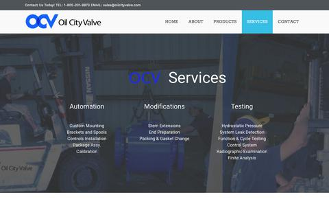 Screenshot of Services Page oilcityvalve.com - Services | Oil City Valve - captured Sept. 20, 2018