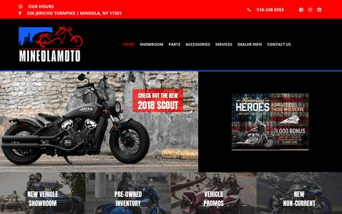 Screenshot of Home Page mineolamoto.com - Motorcycles for Sale | New & Used Inventory - Mineolamoto.com - captured Oct. 1, 2018