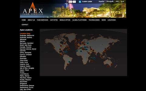 Screenshot of Locations Page apexfundservices.com - Apex Fund Services Locations - Apex Fund Services - captured Sept. 13, 2014