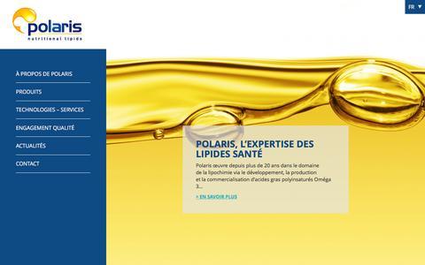 Screenshot of Home Page polaris.fr - POLARIS Lipides Nutritionnels - captured Jan. 29, 2016