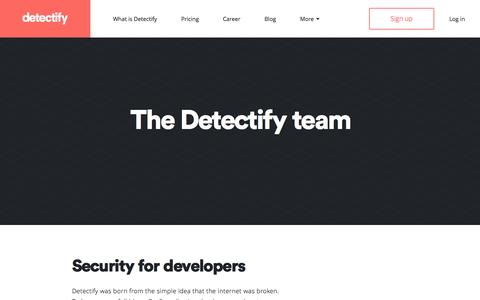 Screenshot of About Page detectify.com - Detectify - Go hack yourself! - captured Jan. 9, 2016