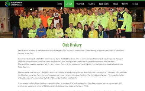 Screenshot of About Page nhrr.org.uk - About - North Herts Road Runners - captured April 6, 2017