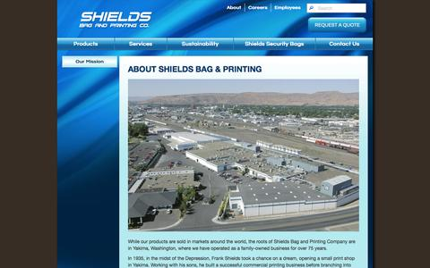 Screenshot of About Page shieldsbag.com - About Shields Bag & Printing - captured Oct. 26, 2014