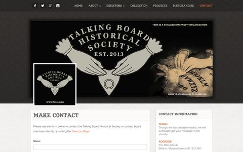 Screenshot of Contact Page tbhs.org - Make Contact - Talking Board Historical Society, Inc. - captured Feb. 17, 2016