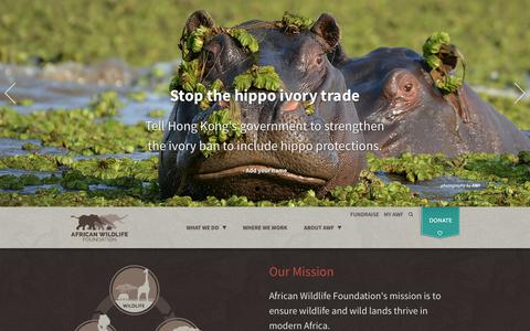 Screenshot of Home Page awf.org - African Wildlife Foundation - captured Oct. 3, 2018