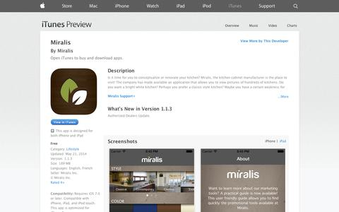 Screenshot of iOS App Page apple.com - Miralis on the App Store on iTunes - captured Oct. 26, 2014
