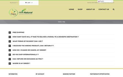 Screenshot of FAQ Page sepranatural.com - FAQ   Sepra Natural Products - captured Sept. 21, 2018