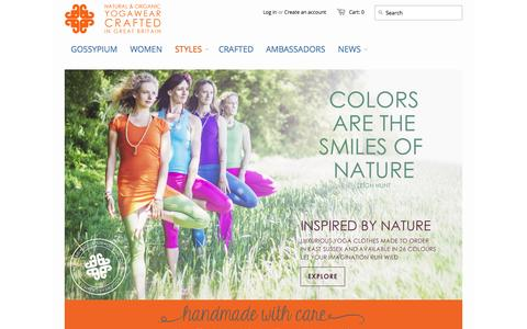 Screenshot of Home Page gossypium.co.uk - GOSSYPIUM  |  Natural & Organic Yoga clothes Crafted in the UK - captured Oct. 3, 2014