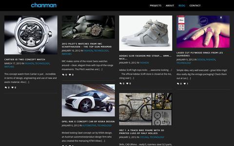 Screenshot of Blog chanman.com.au - Jonathan Chan | Product Design + Development - captured Sept. 29, 2014