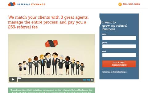 Screenshot of Landing Page referralexchange.com - REALTOR® Referral Network | ReferralExchange.com - captured Oct. 27, 2014