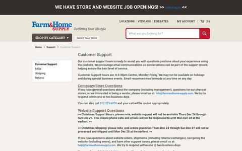 Screenshot of Support Page farmandhomesupply.com - Customer Support - captured Jan. 14, 2016