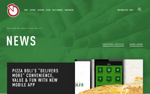 Screenshot of Press Page pizzabolis.com - News | Pizza Deals & Coupons, Affordable Catering, Party Food - captured July 19, 2018