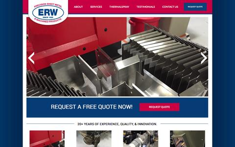 Screenshot of Services Page erwinc.com - ERW Inc. | CT Thermal Spray Masking | CT Water Jet Cutting - captured July 18, 2015