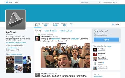 Screenshot of Twitter Page twitter.com - AppDirect (@AppDirect) | Twitter - captured Oct. 1, 2015