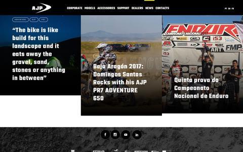 Screenshot of Press Page ajpmotos.com - AJP | News - captured July 28, 2018