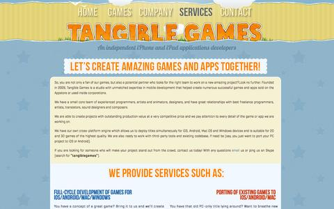 Screenshot of Services Page tangiblegames.com - Services : Tangible Games – making great iOS games - captured Oct. 10, 2014