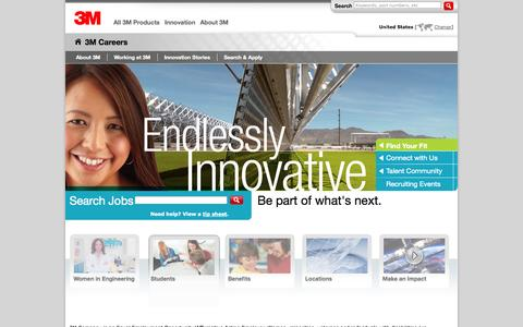 Screenshot of Jobs Page 3m.com - Be part of 3M - Career Opportunities US - captured Oct. 22, 2014