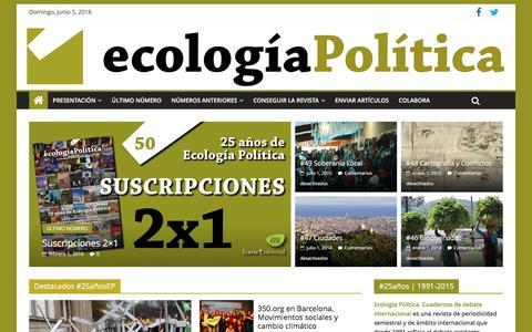 Screenshot of Home Page ecologiapolitica.info - Ecología Política | Cuadernos de debate internacional - captured June 5, 2016